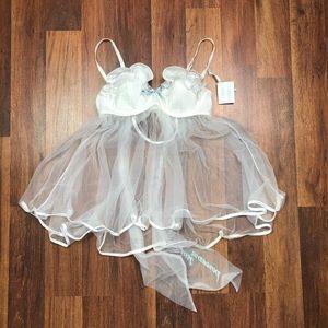 Victorias Secret Bridal Satin Lace White Teddy